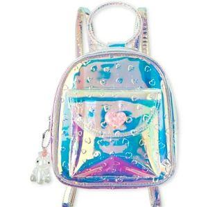 Girls Embossed Heart Holographic Mini Backpack